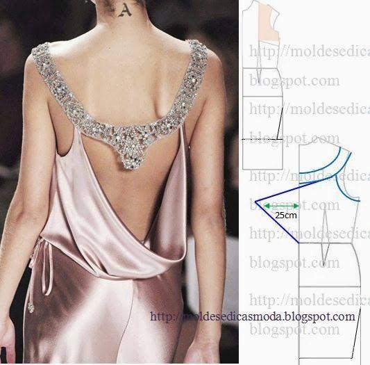 vestido espalda drapeada