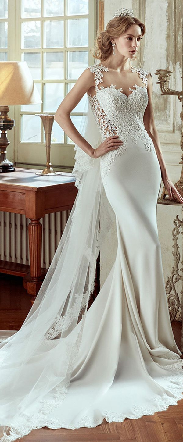 Charming Tulle & Acetate Satin Jewel Neckline Mermaid Wedding Dresses With Beaded Lace Appliques