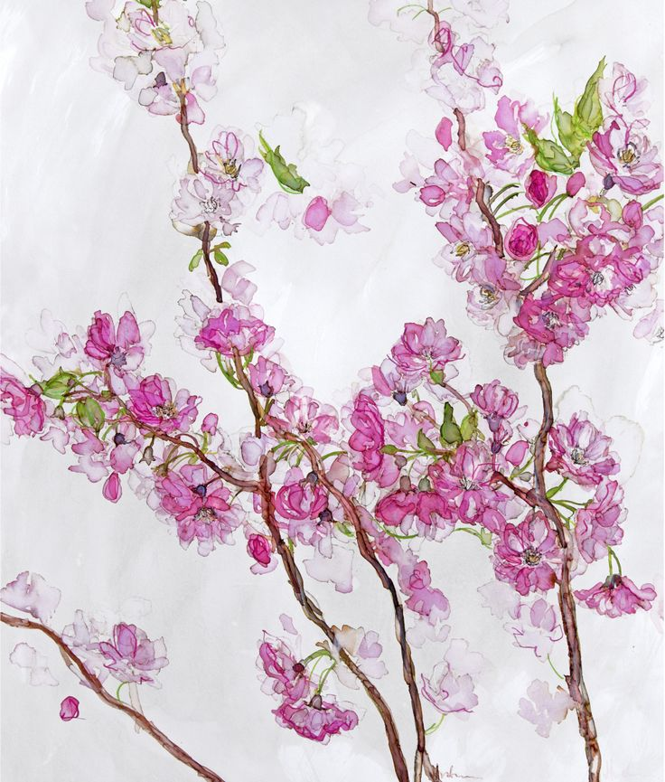 Purple Blossom (JT02) Floral Art Print by Jess Trotman http://www.thewhistlefish.com/product/jt02f-purple-blossom-framed-art-print-by-jess-trotman