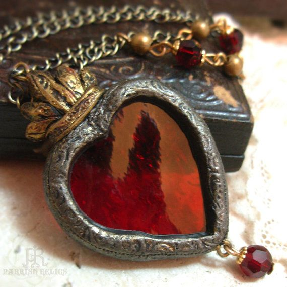 Sacre-Coeur - Stained Glass Sacred Heart Necklace by Parrish Relics   http://www.etsy.com/listing/79523317/sacre-coeur-stained-glass-sacred-heart