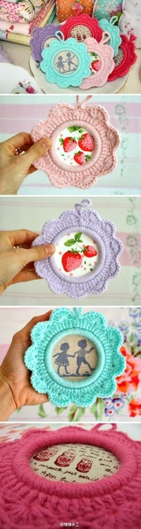 crochet inspiration Round crochet picture frames or ornaments; crochet worked around a rigid ring such as large plastic rings.
