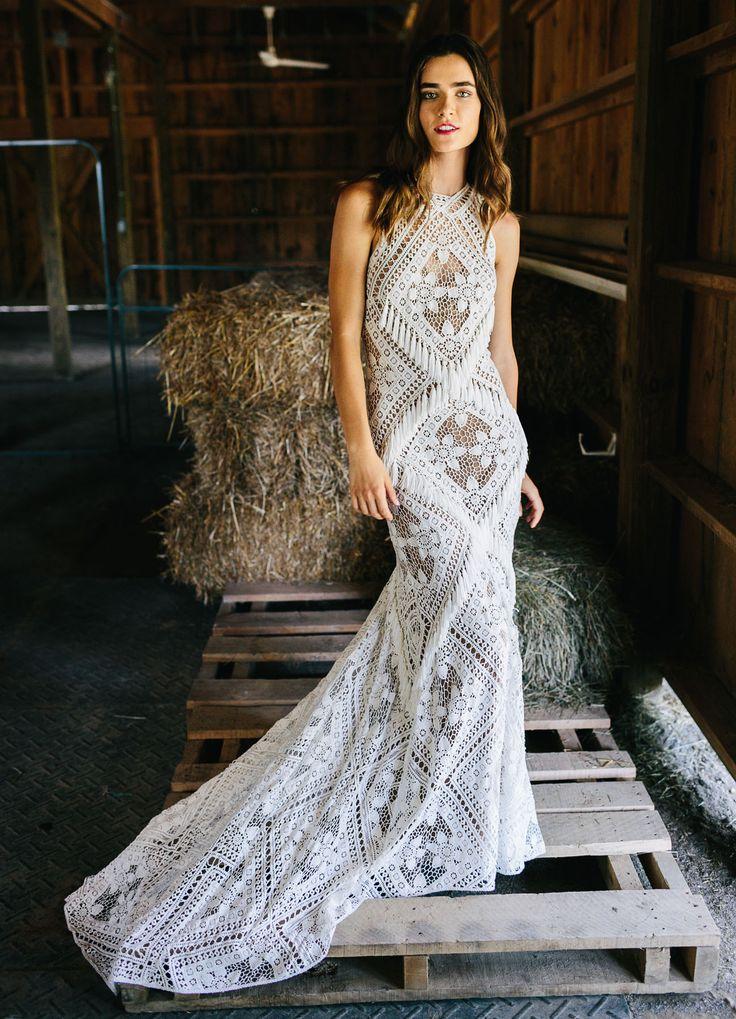 A high neck, tasteful lace, and fringe?! What more could a boho bride want? // Rue De Seine 2017 Love Spell