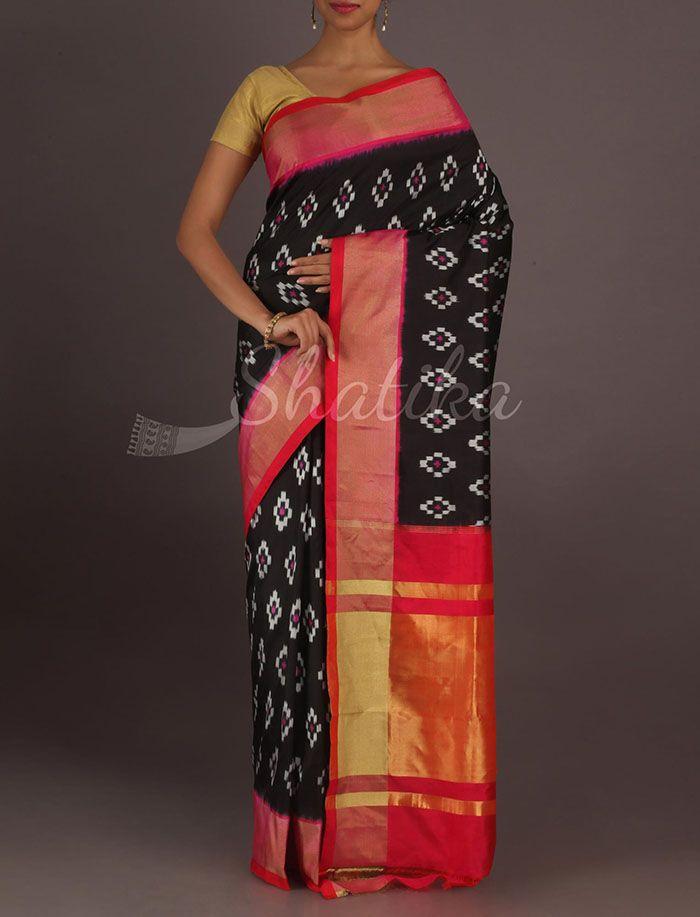 Shravanti Diamonds In Black Gorgeous Ikat #PochampallySilkSaree