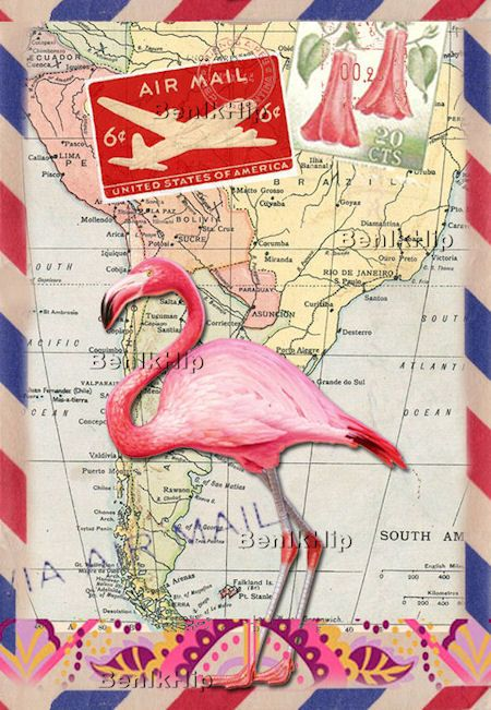 Strijkapplicatie Flamingo Air Mail