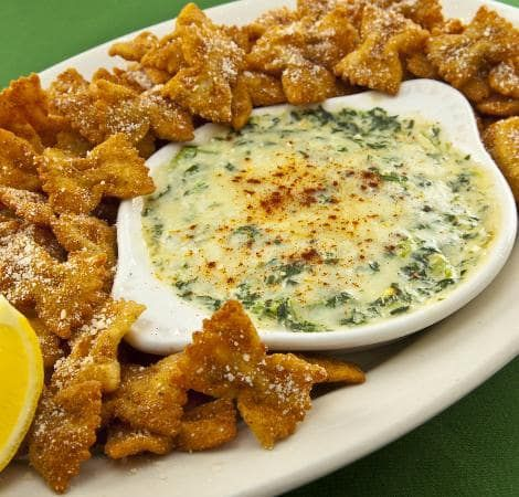 This is one of the best appetizers served at Copeland's of New Orleans. The bow-tie pasta chips kick it up a notch from your typical chips & dips. Recipe adapted from: cajunchefryan.rymocs.com