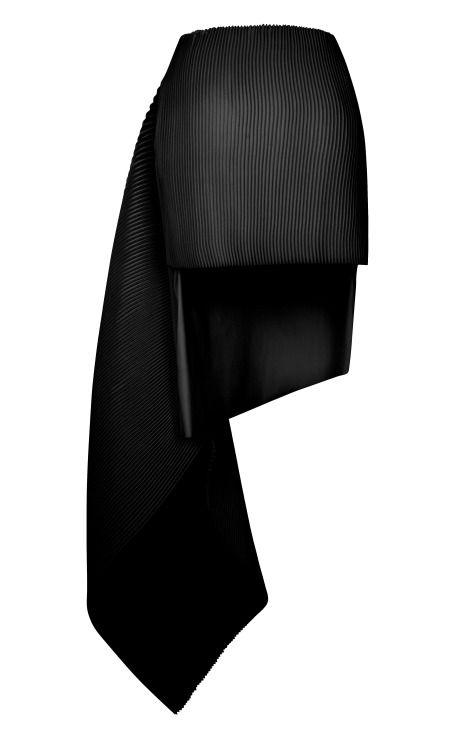 Black Accordion Wool Cleo Skirt by J.W. Anderson for Preorder on Moda Operandi