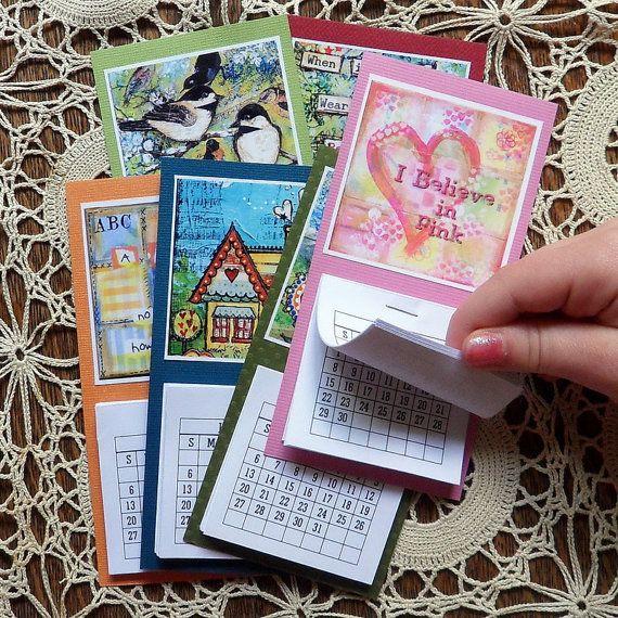 Mini 2013 Calendar with Tiny Art Print - Fridge Magnet - Wall Calendar - bright colors - small gift for man woman child boy girl. $5.00, via Etsy.