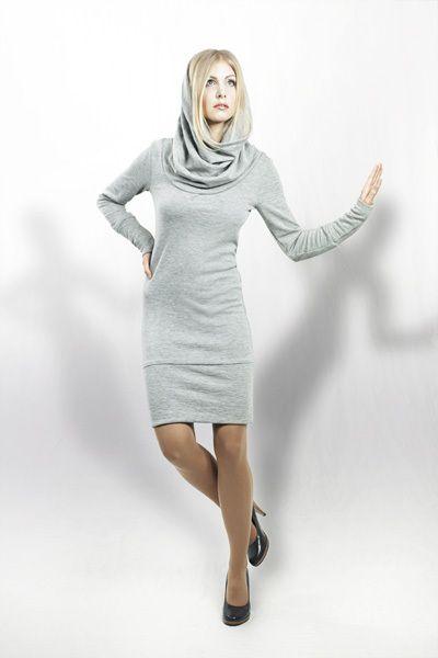 Graues Jerseykleid mit langen Bündchen und einem großem Wohlfühlschalkragen // Cozy grey jersey dress by bluetezeit-berlin via DaWanda.com