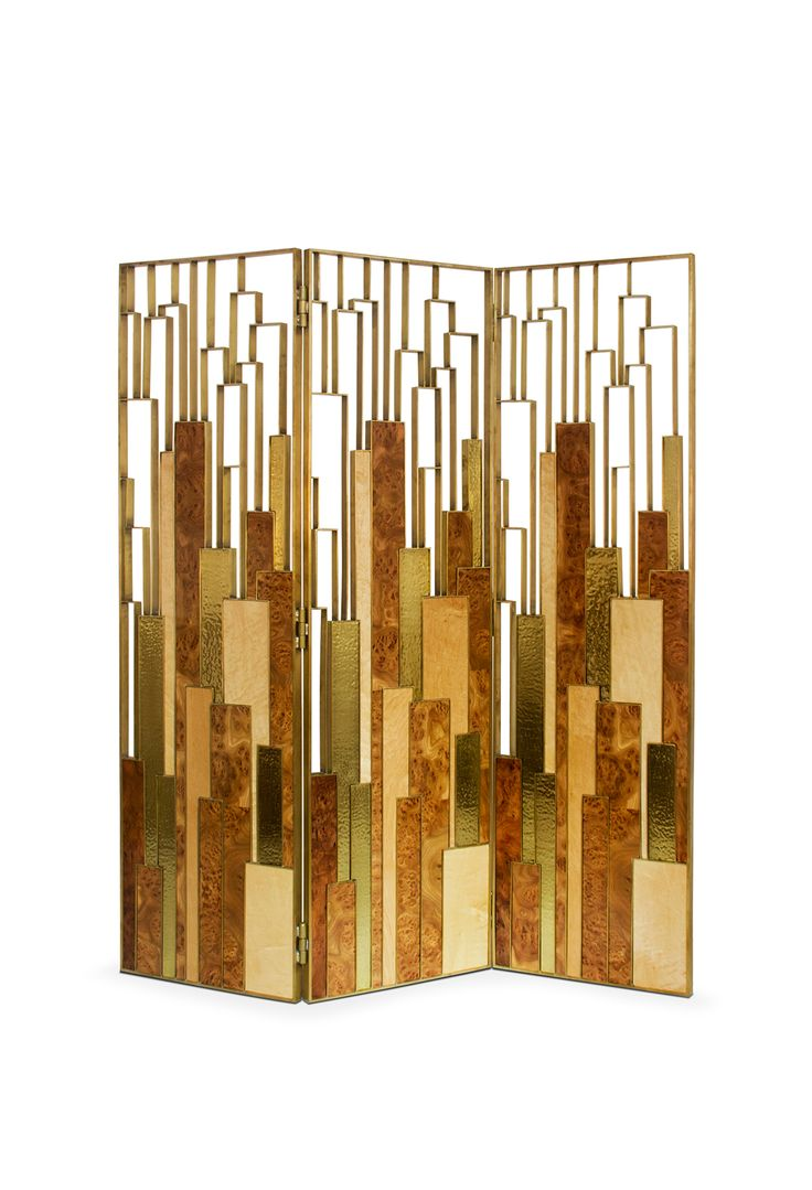 DELPHI SCREEN   BRABBU is a geometric 3 panel folding screen. Screen room divider made of elm root wood and with a brass aged patina finish. #interiordesign #home #furniture   See more http://brabbu.com/en/casegoods/delphi-folding-screen.php