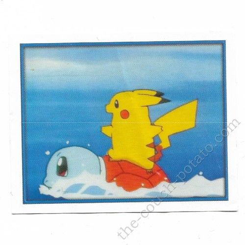 Pokemon Sticker Card  Pikachu surfing on Squirtle # 018 2x3 inches Merlin 2000 TV show pictures