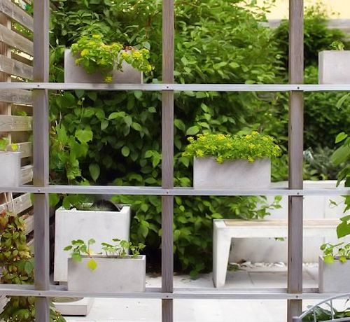 A Simple Potted Vertical Garden Screen