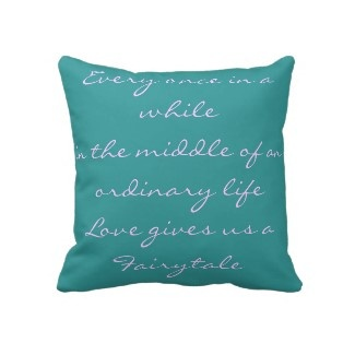 Throw pillow with a love quote