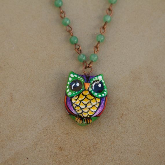GORGEOUS Hand Painted Owl Pendant with by sugarskullshoppe on Etsy