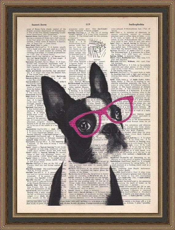 Boston terrier Art Print Terrier Dictionary Art by PrintsWithStyle, $7.99
