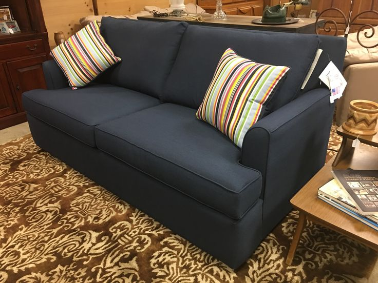 Brand new stunning blue LaCrosse sofa and two accent pillows. $1499 #couch #sofa #design #new #blue #deal #sale #shop #online #furniture #mk #consignment #home #house #apartment #homedesign #homedecor #livingroom #basement