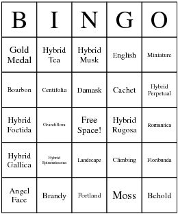 June is Rose Month! Site for creating and printing your own Rose Bingo cards!