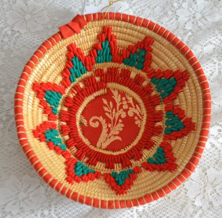 "Basket ""crobedda"" in straw and rush, handmade in Sinnai (Cagliari)"