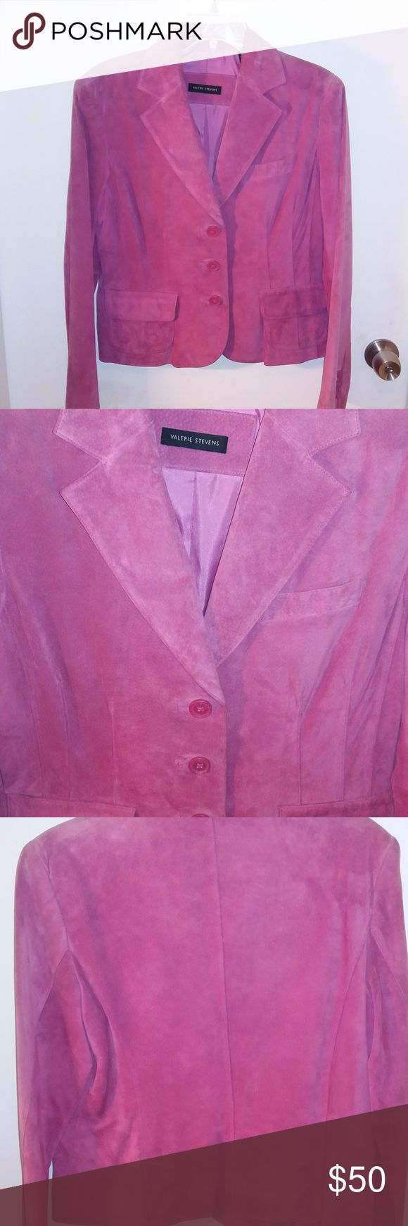 EUC Pink Suede Blazer Sz Medium Pink Suede blazer.  In great shape.  There is some smoothing on the arms of the suede, but it only noticeable through touch. Valerie Stevens Jackets & Coats Blazers