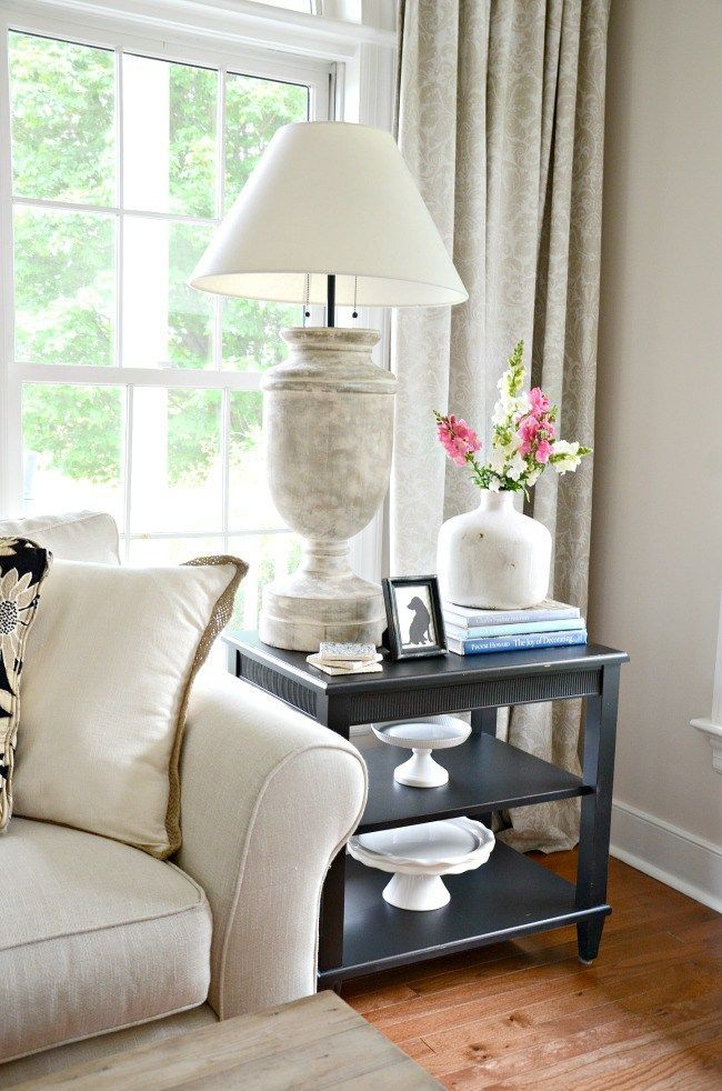 How To Style An End Table Like A Pro Table Decor Living Room Living Room End Table Decor Table Lamps Living Room