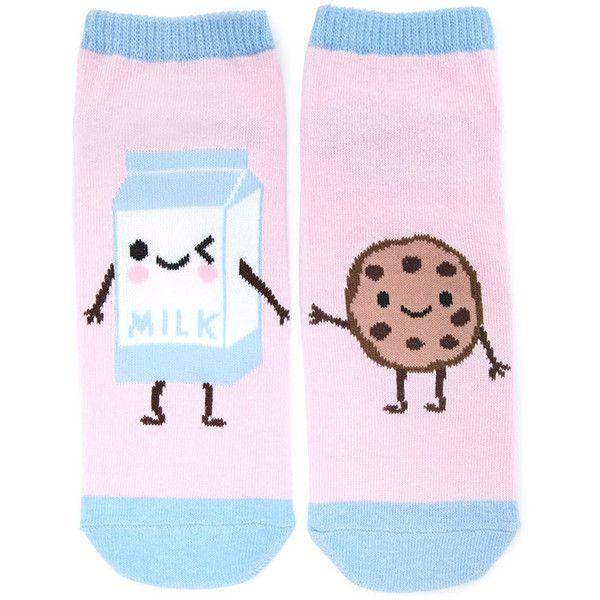 Forever21 Milk and Cookie Ankle Socks ($1.90) ❤ liked on Polyvore featuring intimates, hosiery, socks, tennis socks, forever 21 socks, forever 21, ankle socks and graphic socks