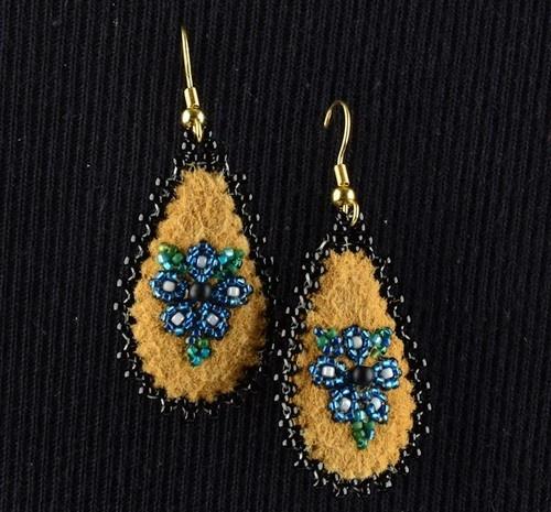Smoked Moose Hide Beaded Earrings by Corinna M. Evans (Athabascan)