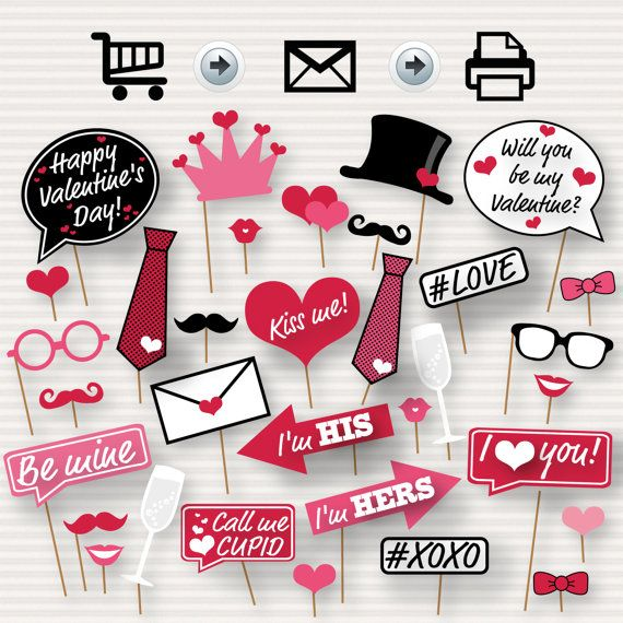 Valentine's Day Printable Photo Booth Props  by SurpriseINC
