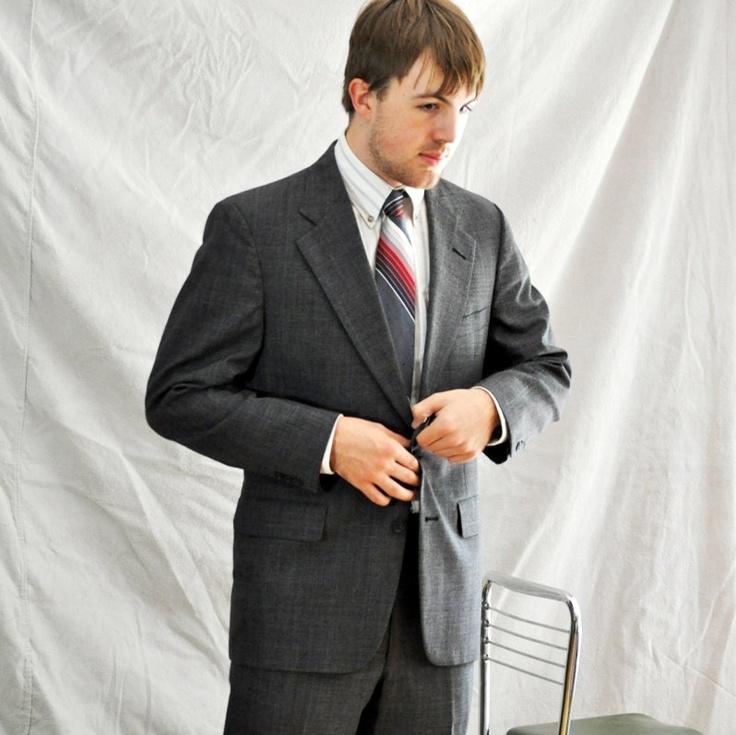 Vintage Men's Suit. Black Glen Plaid Vintage Suit. 40L. $78.00, via Etsy.
