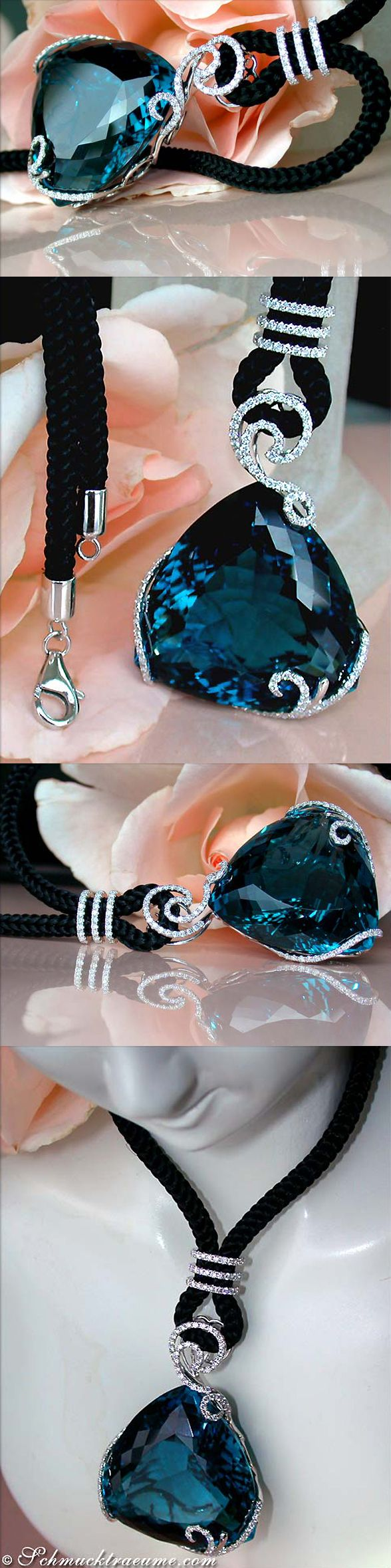 Grand Blue Topaz Diamond Necklace, 99,02 cts. WG14K - Find out: schmucktraeume.com - Like: https://www.facebook.com/pages/Noble-Juwelen/150871984924926 - Contact: info@schmucktraeume.com. LBV