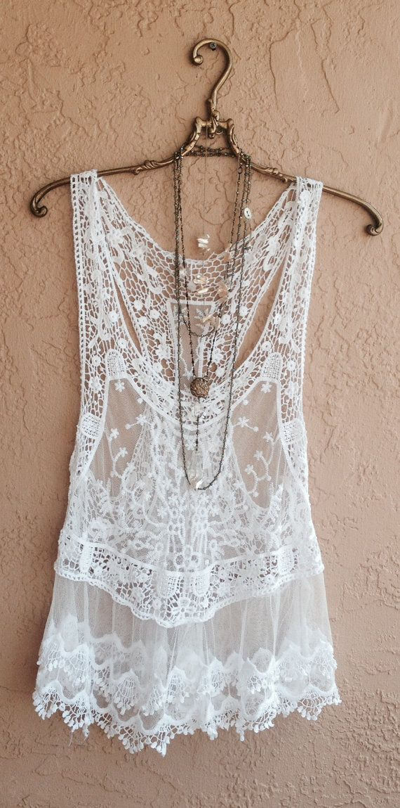 Bohemian lace and crochet tunic top with sheer embroidered floral design beach day