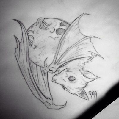 27 best bat images on pinterest bat tattoos drawings for Bat moon tattoo