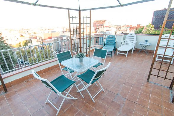 large sunny terrace throughout the day