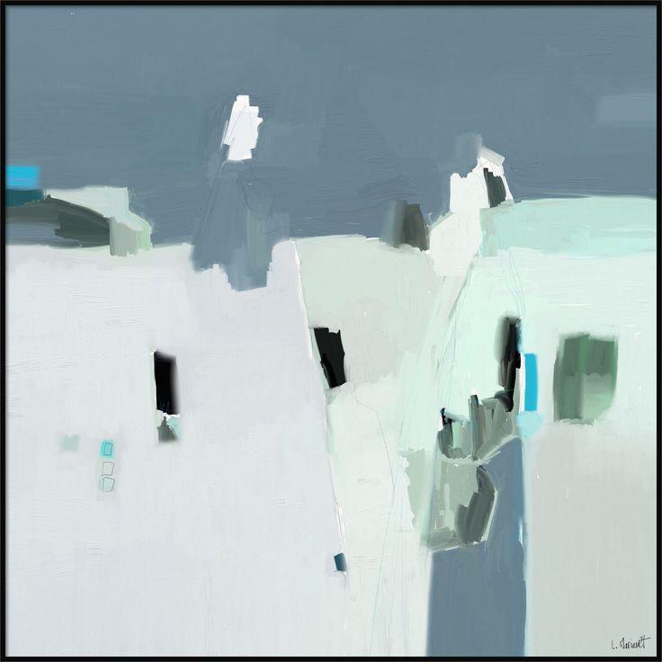 Face à Face - 709 peinture numérique digitale abstraite grise bleue verte signée Ludovic Mariault