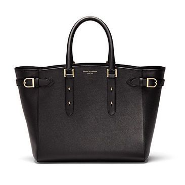 Marylebone Tote in Black Pebble & Smooth Black - Aspinal of London