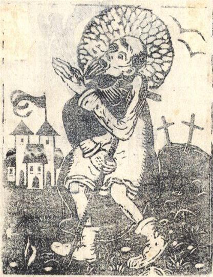 Světec s berlou. 1908, dřevoryt, 9,2 x 7,1 cm