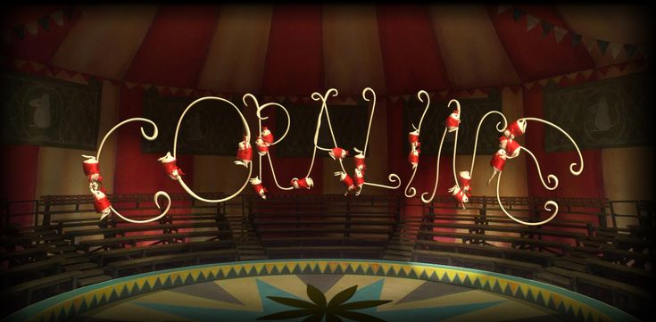 coraline - spelled with jumping circus mice