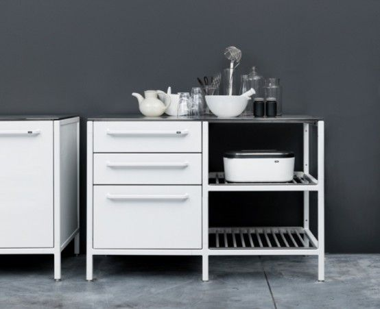 Awesome Minimalist Stainless Steel Kitchens by Vipp : Minimalist Stainless Steel Kitchens By Vipp With Black White Wall And Table With Storage For Kitchen Appliances And Ceramic Floor