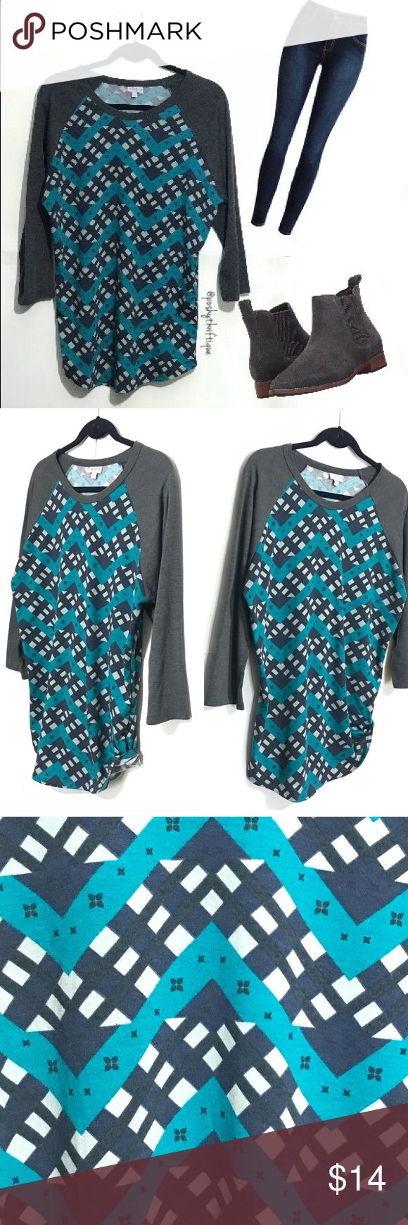 "Lularoe Womens Randy 3/4 Sleeve Mulitprint Shirt SIZE: large  STYLE: relaxed / casual /movie night / Date Night  BRAND: lularoe MATERIAL: 87% polyester 10% rayon 3 % spandex  COLOR:multicolor gray / blue / white  MEASUREMENTS:  Length :Approx 28"" Underarm To Underarm : Approx 20"" Bust : Approx 40"" Sleeve : Approx 22"" CONDITION : Great Pre Loved Condition  COUNTRY OF MANUFACTURER : Mexico  SMOKE FREE & PET FREE ENVIRONMENT LuLaRoe Tops Tees - Long Sleeve"