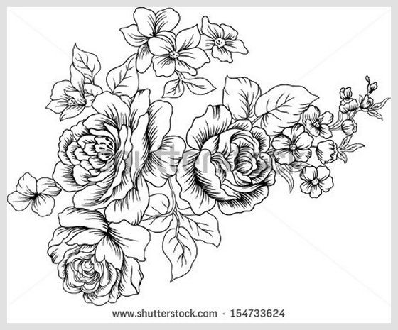 Vector Line Drawing Flower Pattern : Black and white lined design vector with of flowers