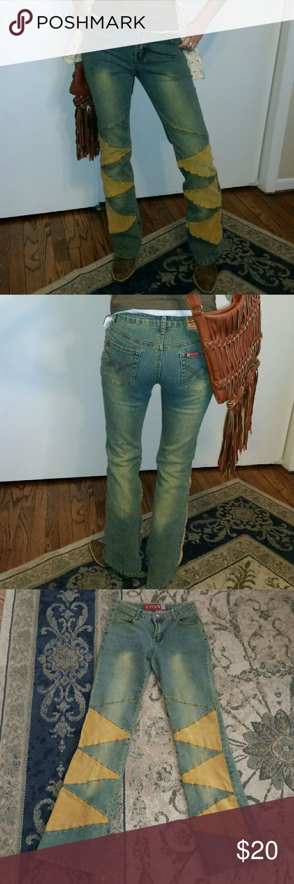 """GF INC USA Jeans Adorable BOHO style jeans with corduroy patches. Boot cut with 32"""" inseam GF INC USA Jeans Boot Cut"""