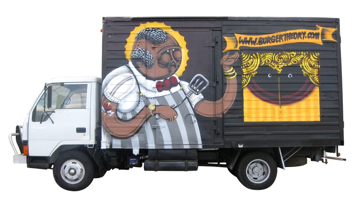Burger Theory truck - painted by Sam Evans (First coat 2011 - 2012)