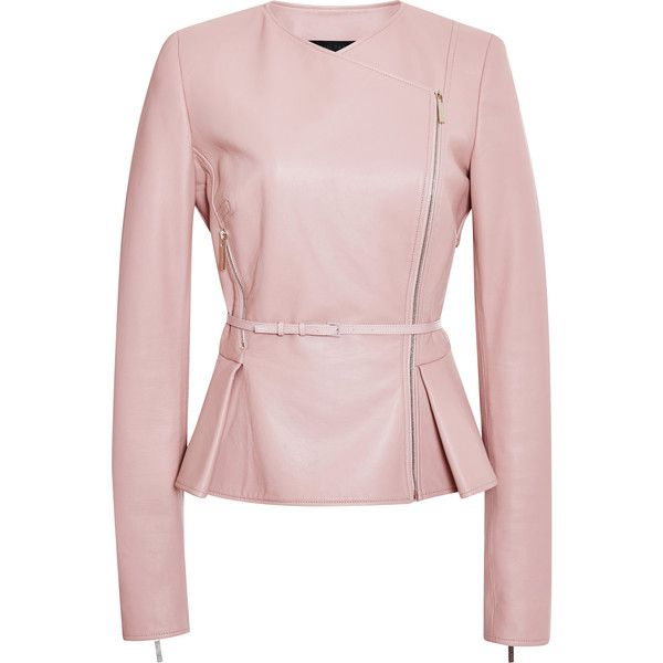 Elie Saab Blush Double Breasted Leather Jacket (13,935 PEN) ❤ liked on Polyvore featuring outerwear, jackets, coats, elie saab, blush, peplum jacket, collarless leather jacket, leather jacket and real leather jacket