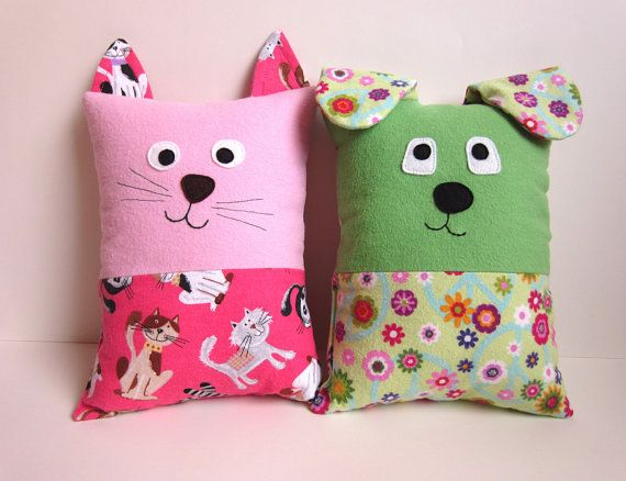 Make a cuddly Dog or Cat Pillow with an optional pocket on the back perfectly sized for the Tooth Fairy. The smaller size is just right for toddlers or as an accent pillow for any age. Perfect for anyone who loves dogs or cats. Pillow is approximately 9 1/2 high x 7 wide (not including ears). These pillows make an excellent sleep companion for small children. There are no buttons or loose pieces to come off. They are to clean too, machine washable, gentle cycle (when made with washable f...