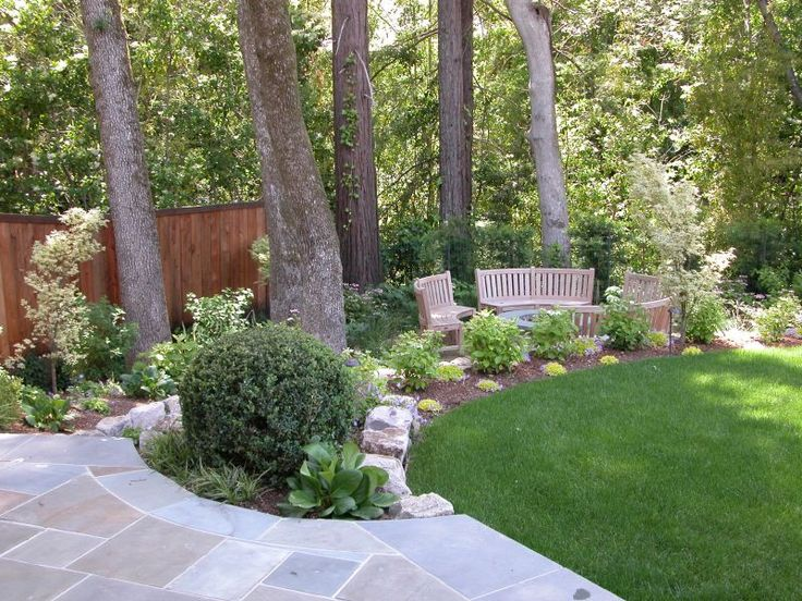 Landscaping Ideas Around Oak Trees : Flower garden idea for around tree bluestone walk leads down to