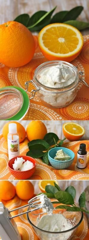 DIY ORANGE COCONUT WHIPPED BODY BUTTER I recently discovered the great benefits of oranges and I decided to find other natural products that I can make by myself. This body butter it's one of my favorite because organges are very refreshing and you can use it during the hot season, and last but not least, it contains coconut oil wich is the natural product that I love the most! by sara