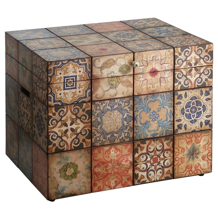 Pier 1 Decoupage Trunk is practical storage that looks and feels more like art (I could do this with mexican tile prints!)