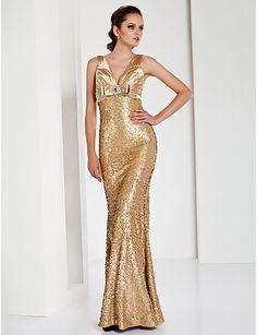 Trumpet/ Mermaid V-neck Floor-length Sequined Satin Evening Dress Gold