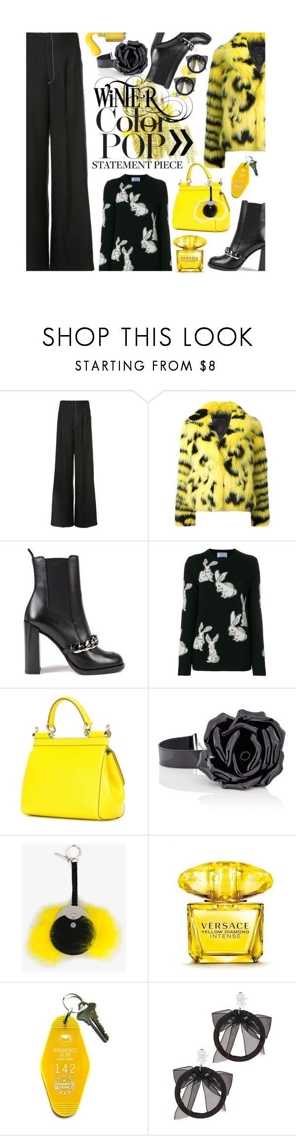 """Statement Coat"" by mia-christine ❤ liked on Polyvore featuring Derek Lam, Versace, Givenchy, Prada, Dolce&Gabbana, Yves Saint Laurent, Fendi, Three Potato Four, Fallon and statementcoats"