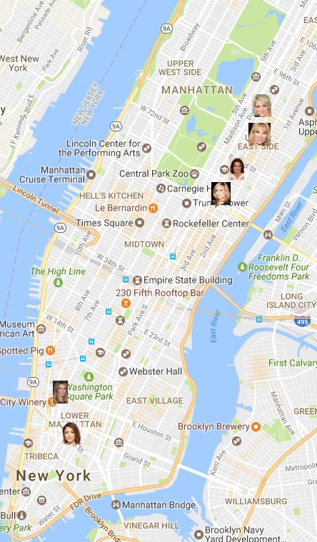 See our map of the Real Housewives of NYC to find out where they live and how much Skinny Girl/Tipsy Girl/Ramona Pinot Grigio money it took to buy 'em.
