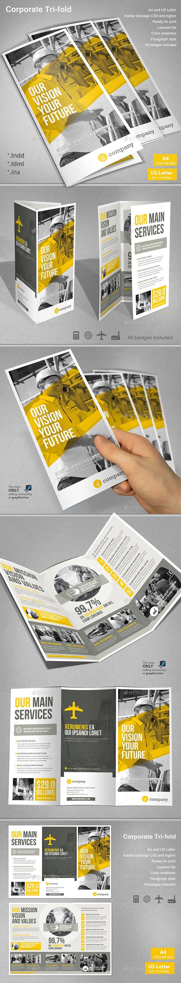 Corporate Tri-fold Brochure Template InDesign INDD