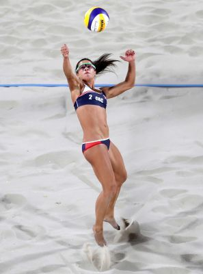 Costa Rica's Nathalia Alfaro reaches for a ball during a women's beach volleyball match against Netherlands at the 2016 Summer Olympics in Rio de Janeiro, Brazil, Monday, Aug. 8, 2016.